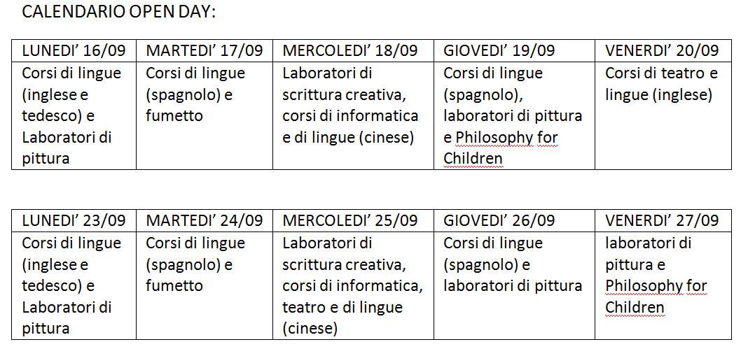 Calendario scuola sinequa